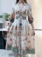 woman vintage print dress 2020 summer linen dresses