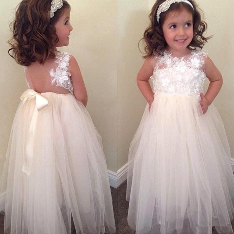 Cute 2019   Flower     Girl     Dresses   For Weddings A-line Tulle Appliques Lace Bow Long First Communion   Dresses   Little   Girl