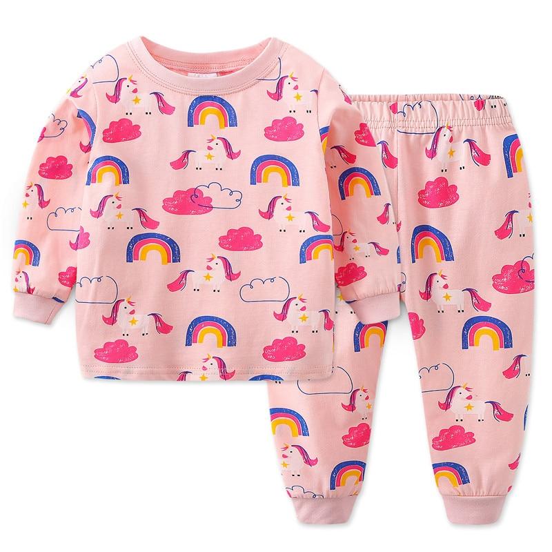 Jumpingbaby 2020 Unicorn Girls Pajamas Unicornio Pijama Infantil Pyjamas Kids Nightgown Koszula Nocna Pajama Set Stitch Gecelik
