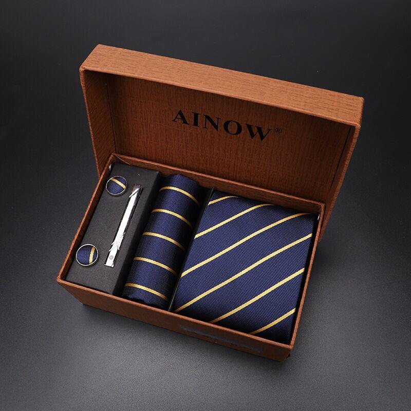 Набор галстуков 4 шт. мужской цветочный галстук для шеи клетчатый галстук подарок свадебный красный полосатый 8 см темно-синий жаккардовый тканый черный однотонный Камуфляжный ящик - Цвет: NO box 16