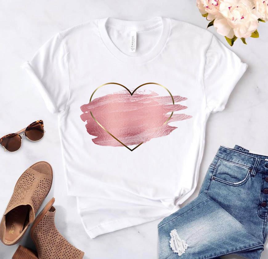 Heart flower print ladies T-shirt ladies casual basis O-collar white shirt short sleeve ladies T-shirt love graphic printing(China)