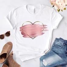 Ladies T-Shirt Short-Sleeve Graphic O-Collar Flower-Print Heart Casual Love Basis