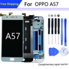 For 5.2 ″ 1280*720  OPPO A57 display in Mobile Phone LCDs A57t pantalla + Frame Digitizer Assem bly Parts AAA+screen LCD Modules
