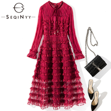 SEQINYY Lace Dress 2020 Spring Autumn New Fashion Design Women Long Sleeve Velvet Bow Cascading Ruffles High Quality Midi