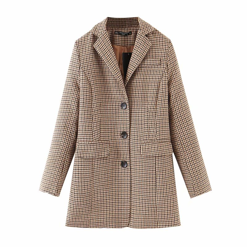 Autumn And Winter Women's Clothing Temperament Long Single-breasted Slim Women's Jacket Large Size Casual Office Plaid Blazer