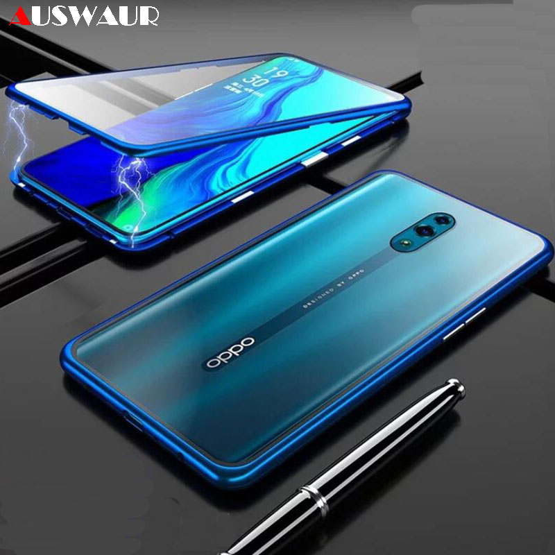 Double Tempered Glass Magnetic Phone <font><b>Case</b></font> for <font><b>OPPO</b></font> Reno 2Z 2F 10X Zoom <font><b>R11</b></font> R11S R15 X R17 Plus Realme X2 3 X5 XT Lite <font><b>Pro</b></font> Q image