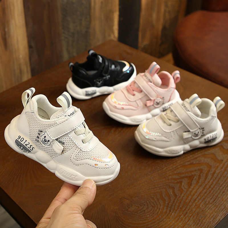 Детская обувь для маленьких девочек; обувь для новорожденных; сетчатая поверхность дышащие детские прогулочные туфли на липучке; Повседневные детские кроссовки с рисунком для новорожденных