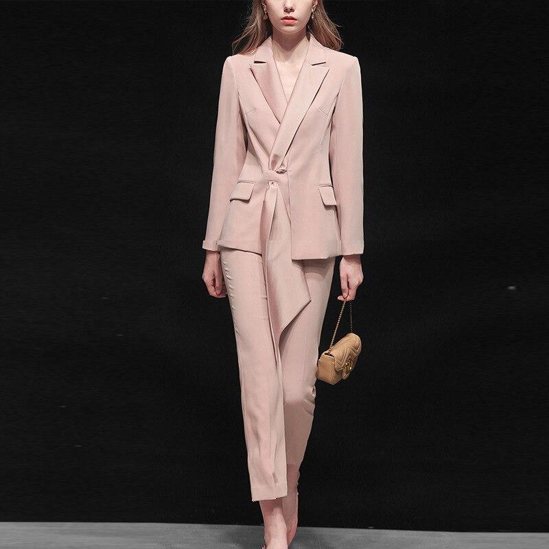 Suit women autumn new women's fashion temperament casual two-piece pink suit jacket nine pants professional party dress suit 15