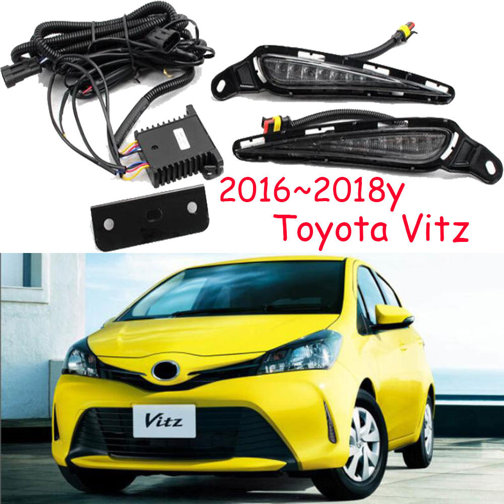 <font><b>2016</b></font>~2018year for <font><b>Toyota</b></font> Vitz daytime light car <font><b>accessories</b></font> LED DRL headlight for <font><b>Toyota</b></font> Vitz fog light image