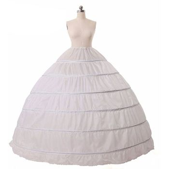 6 Hoops no Yarn Large Skirt Bride Bridal Wedding Dress Support Petticoat Women Costume Skirts Lining - discount item  38% OFF Wedding Accessories