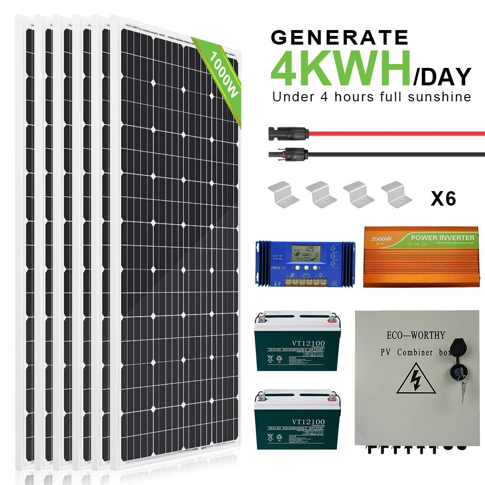 ECOWORTHY 160 Watt Monocrystalline Photovoltaic PV Solar Panel Module 12V Battery Charging