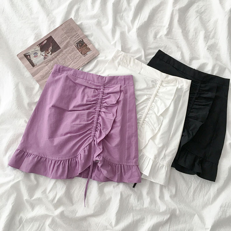 2020 Summer Solid Color Trumpet Lady Skirt Women's Korean High-Waisted Sexy Mini Skirts