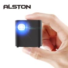 ALSTON S12 Mini HD projektör 50ANSI lümen taşıması kolay ev 1080P projektör pil ile video beamer