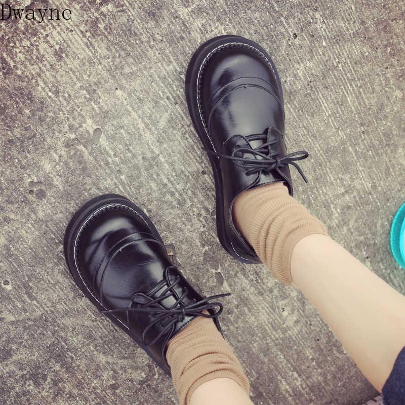 2019 yeni kadın tek ayakkabı Japon Harajuku retro öğrenci rahat ayakkabılar kalın tabanlı çok yönlü koleji rüzgar Lolita düz ayakkabı
