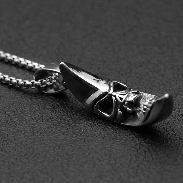 STAINLESS STEEL MOON SKULL NECKLACE