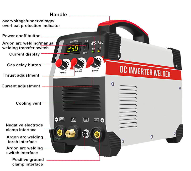 Tools : 2In1 ARC TIG IGBT Inverter Arc Electric Welding Machine 220V 250A MMA Welders Power Tools