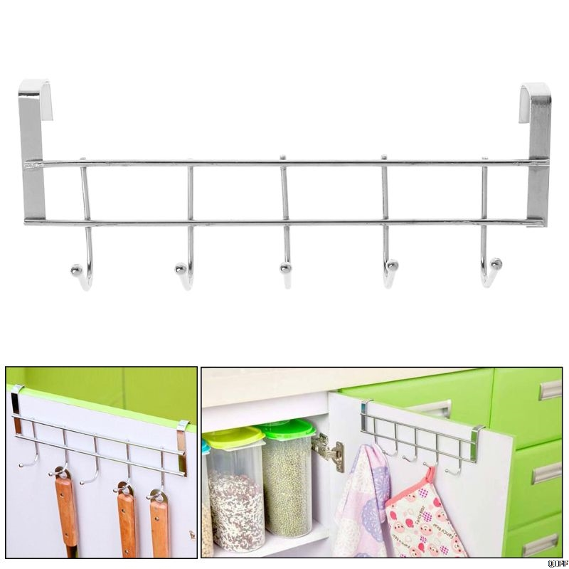 5 Hooks Over Door Clothing Hanger Rack Cabinet Door Loop Holder Shelf For Home Bathroom Kitchen