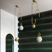 Post modern Electroplating bronze Stretchable Glass pellet American LED Chandelier Bedroom machine head Living room Coffee shop