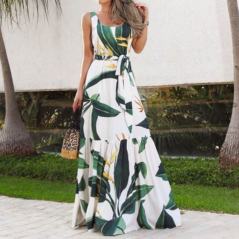 Celmia Bohemian Dress Women Summer Sundress Sleeveless Vintage Floral Print Casual Loose Ruffles Party Robe Belted Vestidos 5XL 2