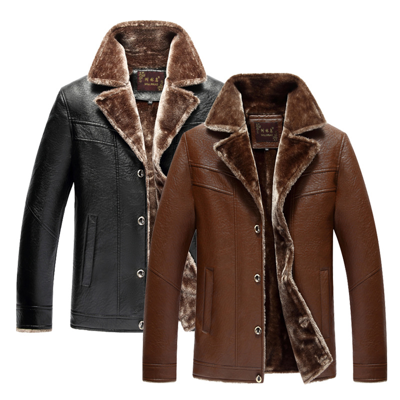 Middle-aged Men Fur PU Leather Jacket Brushed And Thick Coat Daddy Clothes Wandering Peddler