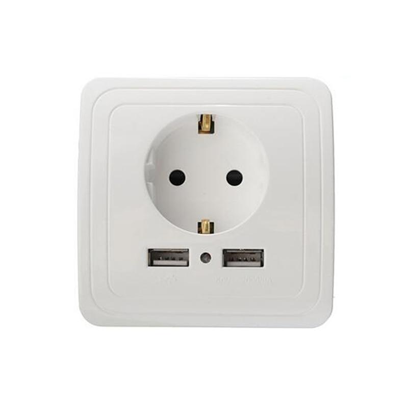 ЕС розетка Dual USB Порты и разъёмы розетки Зарядное устройство адаптер зарядки 2A стены Зарядное устройство адаптер Мощность розетки для кондиционера воздуха части|Запчасти для кондиционера|   | АлиЭкспресс