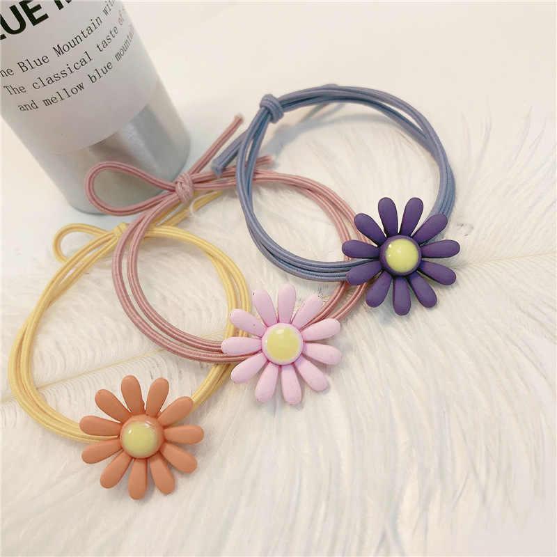 2 шт./резинка для волос с цветами для девочек, яркие цвета, Детские Безопасные эластичные резинки для волос, заколка для волос «конский хвост», Детские аксессуары для волос