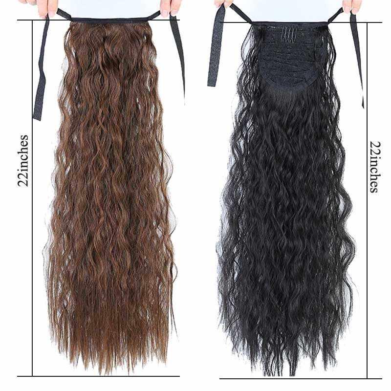 """AILIADE Peluca de pelo falso Afro, moño rojo liso con cordón, peluca de cola de caballo, coleta sintética, Clip en extensiones de cabello 22"""""""