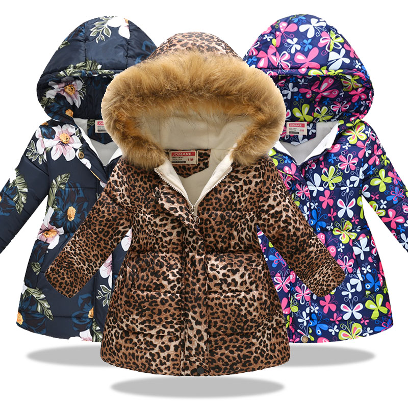 Toddler Baby Girls Winter Warm Clothes Windproof Coat 1-6 Years Old Kid Cartoon Hooded Thicken Outwear Jacket