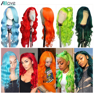 Allove Pink Human Hair Wigs 150% Brazilian Body Wave Lace Front Wig Blue Orange Green Human Hair Wigs 13X4X1 Lace Part Wig