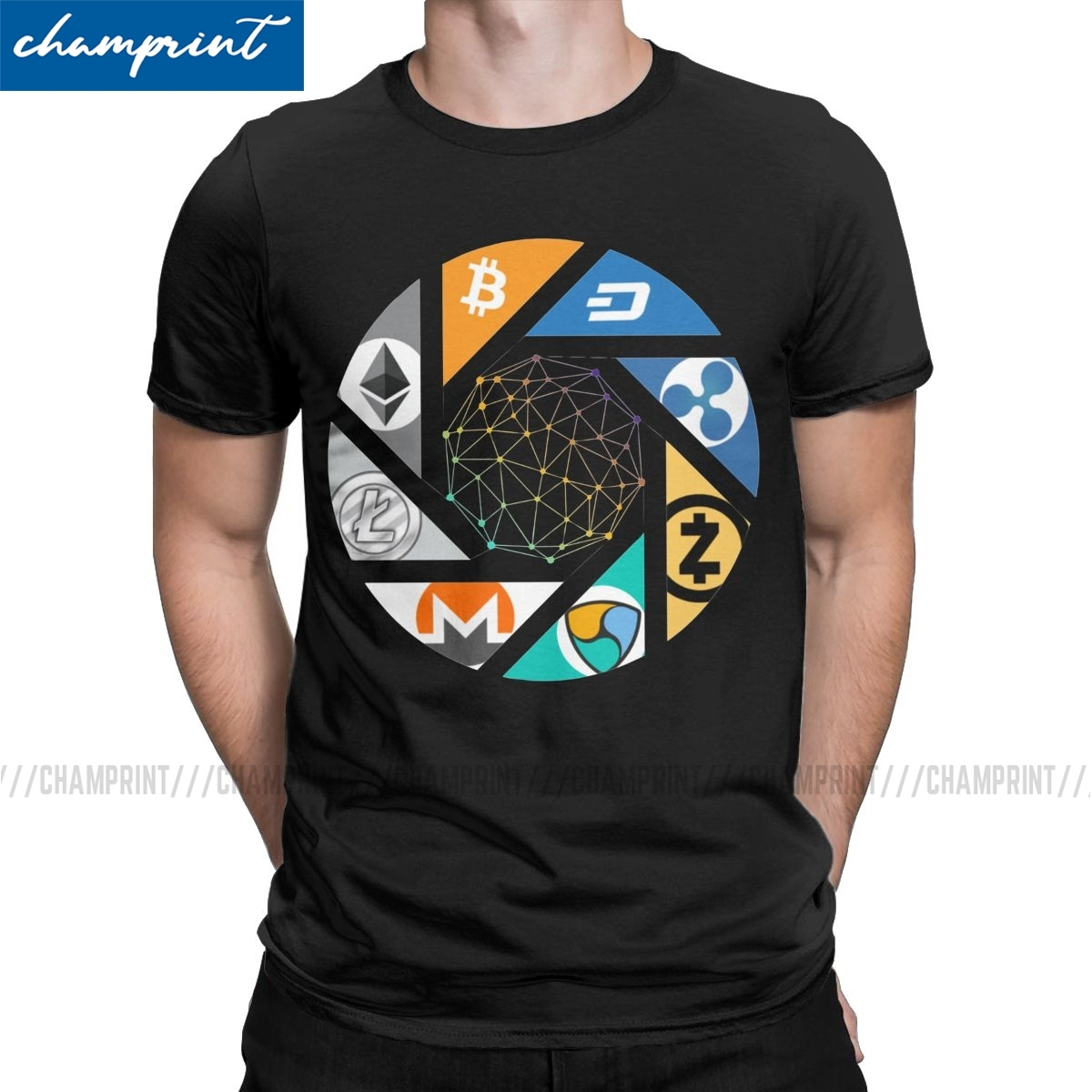 The New World T-Shirts Men Bitcoin Cryptocurrency Crypto Btc Blockchain Geek Vintage Tees Short Sleeve T Shirt Gift Clothes 1