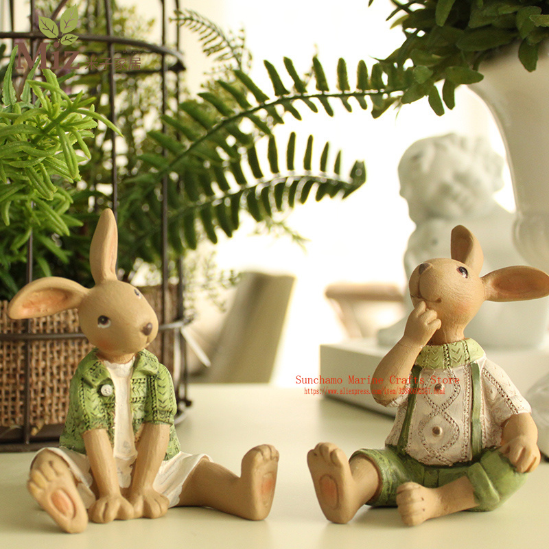 Airy Garden Miniatures Easter Rabbit Miniature Statuettes Resin Vintage Crafts Ornaments Kids Toy Office Home Decoration