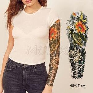 Водостойкая Временная наклейка для татуировок, полная рука робота, механический цветок рыбы, поддельные татуировки для мужчин и женщин