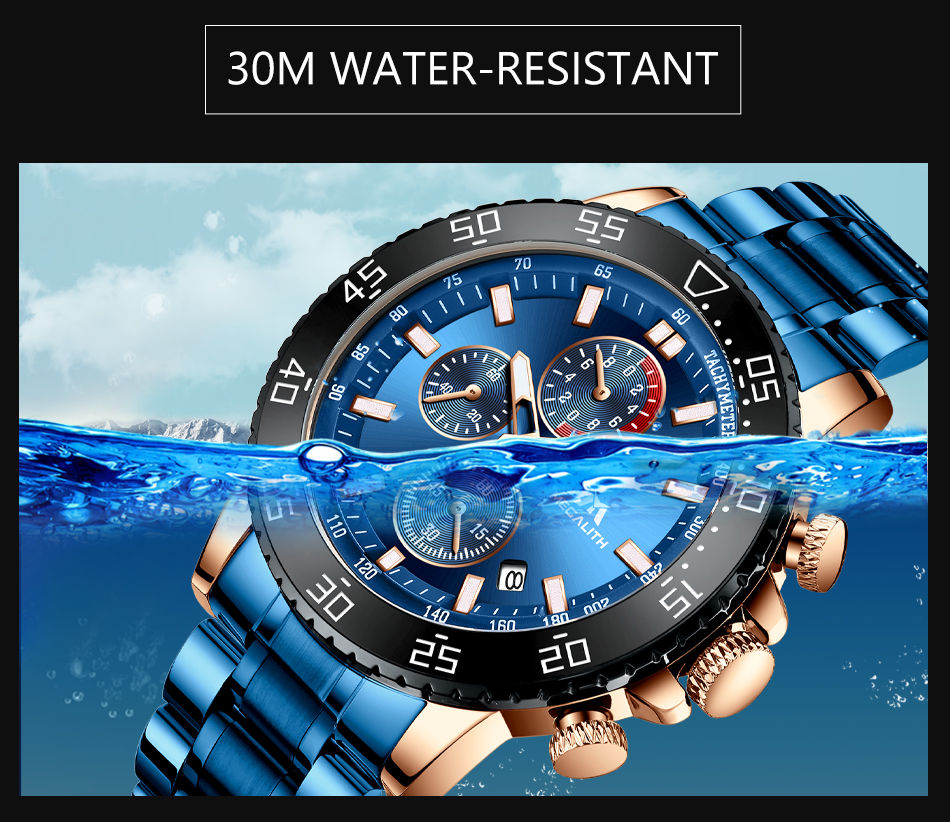 Hc8ccd8d6f0d34cd3873563e7bbb1b45en MEGALITH Military Watches Men Stainless Steel Band Waterproof Quartz Wristwatch Chronograph Clock Male Fashion Sports Watch 8087