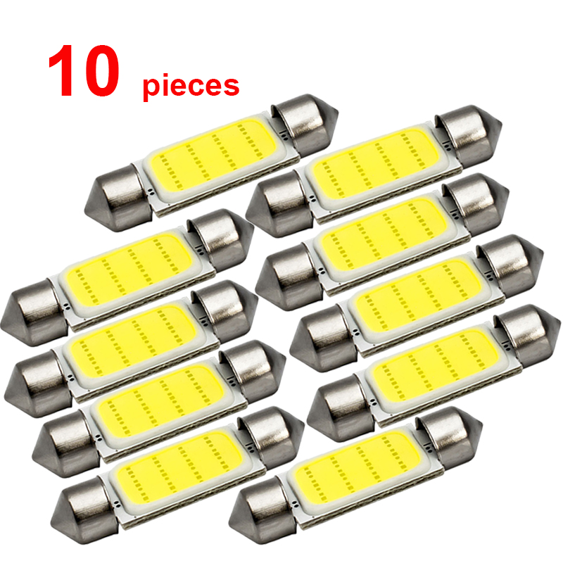 10x C5W Car LED COB Bulb Interior Reading Light Festoon LED Super Bright Auto Dome License Plate Luggage Trunk Lamp 31mm 36mm