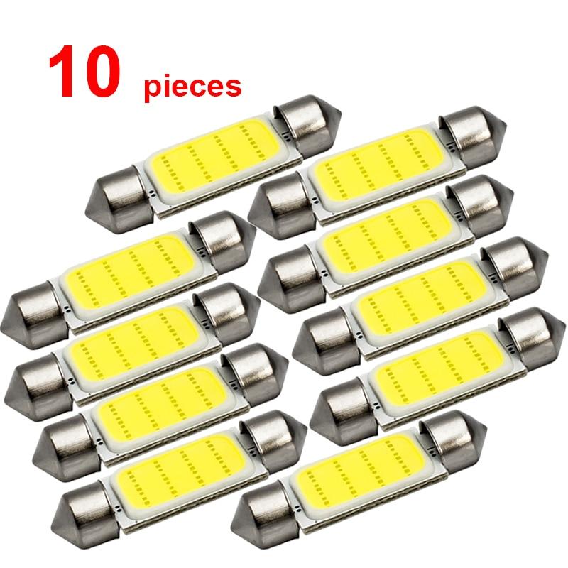 10x C5W Car LED COB Bulb Interior Reading Light Festoon LED Super Bright Auto Dome License Plate Luggage Trunk Lamp 31mm 36mm