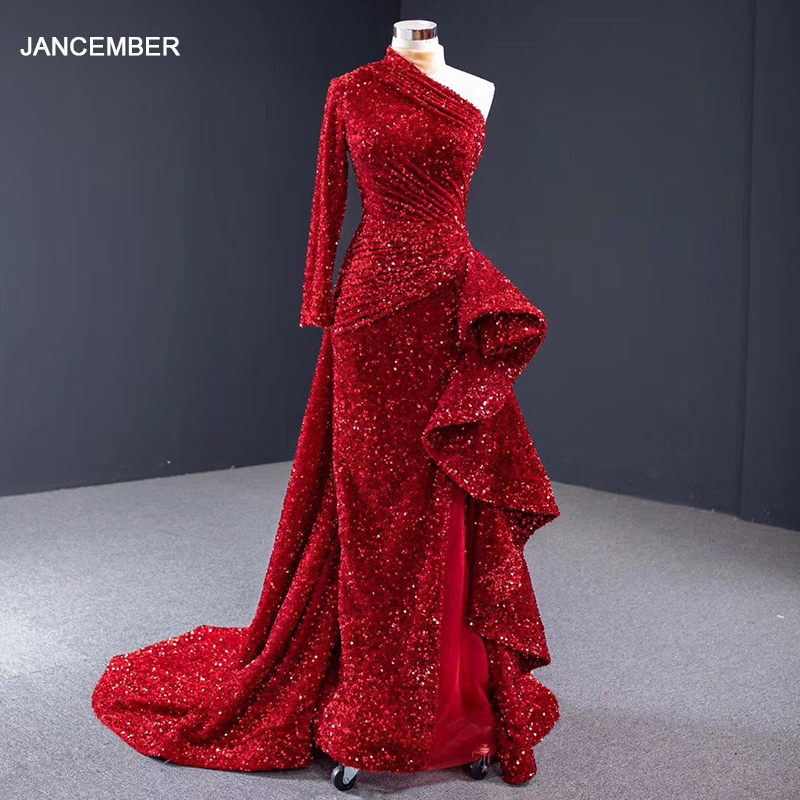 J67056 Jancember Sexy Mermaid Evening Dress With Suqined One Shoulder Long Sleeve Court Train Red Dress Party Vestidos Largos