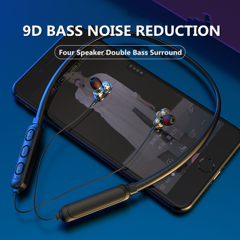 Wireless Headphones Four Speaker Double Moving Driver Waterproof Sport Neckband Headset with Mic 9D Hi-Fi Stereo Bass Earphone
