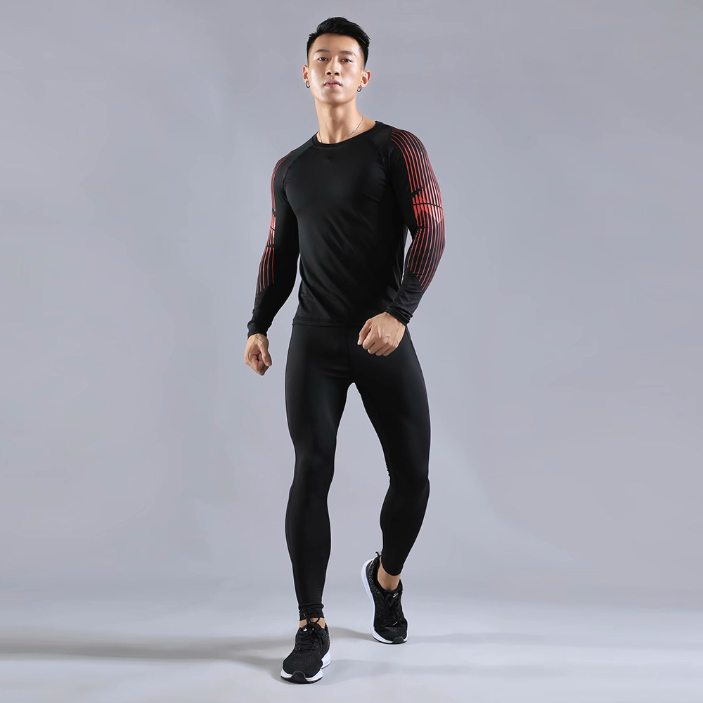 G-SHOW 2 sets of exercise mens new sportswear sweatshirt + tights comprehensive training gym