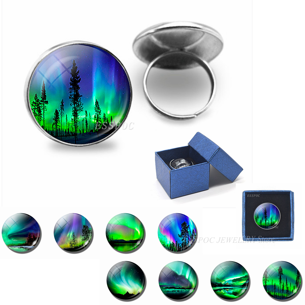 Northern Lights 20 MM Ring Fashion Art Glass Cabochon Jewelry Handmade Silver Rings Women Sisters Friends Gifts