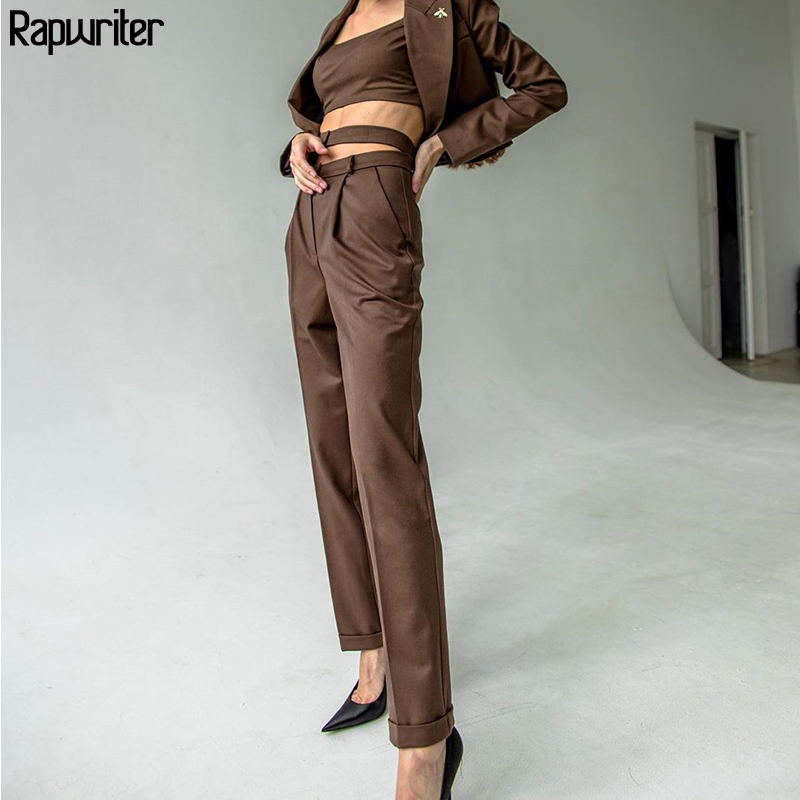 Rapwriter Casual Solid Pocket High Waist Pants Women Belt 2019 Office Straight Fitness Ladies Trousers Pantalon Femme Pants