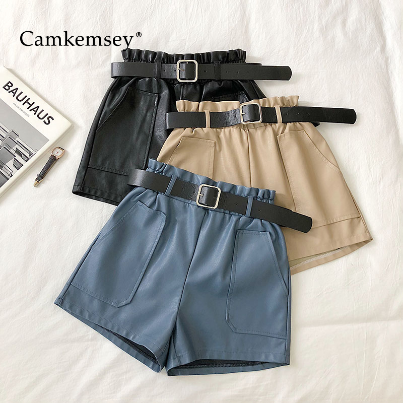 CamKemsey Autumn Casual Solid PU Leather Shorts Women Spring Fashion Big Pockets Elastic Waist Wide Leg Soft Leather Shorts