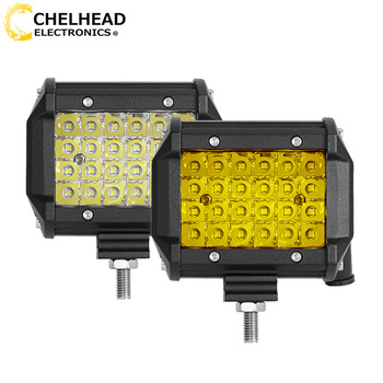 Barra de luz Led para Coche de 3000K, 12V, luz antiniebla, 4 ''72W, barra de luz de trabajo, barra amarilla de luz led para Coche, motocicleta