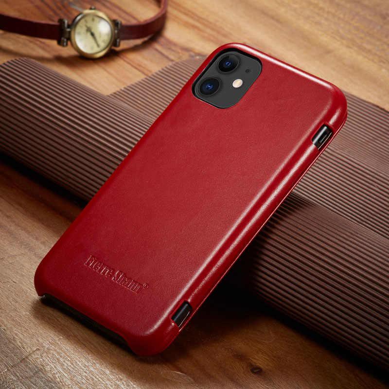 Fierre Shann Superหรูหราหนังแท้สำหรับiPhone 11Por Max 6 6S 7 8 Plus X XR XS Max FlipกรณีCapin Shell