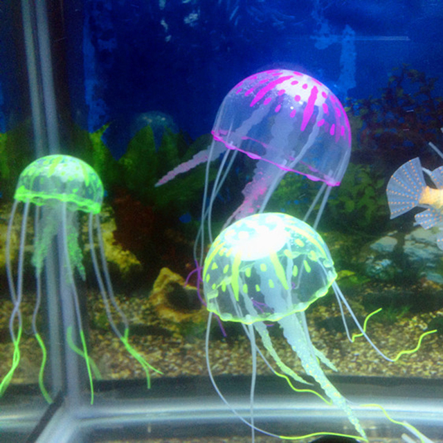 1pc Colorful Artificial Glowing Effect Jellyfish Fish Tank Aquarium Decor Mini Submarine Ornament Decoration Aquatic Pet Supplie 1