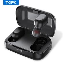 TOPK F22 무선 헤드폰 TWS 블루투스 v5.0 LED 디스플레이 블루투스 이어폰 스포츠 방수 이어 버드 헤드셋 지원 안드로이드