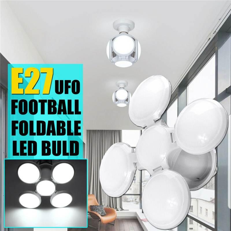 E27 LED Light Bulb Garage Deformable Ceiling Fixture Lights Workshop Shops Lamp