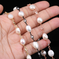 White Baroque Pearl Nugget Freeform Beads Chains,Wire Wrapped Plated Black Copper Rosary Chain Necklace Jewelry DIY HXZB 001AMDE