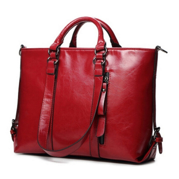 New Women Handbag Europe And America Oil Wax Leather Shoulder Bag Solid Casual Tote Fashion Brand Leather Women Bag PA950743
