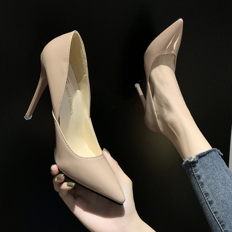 2019 Autumn New Nude Stiletto Heels Black Work Single Shoes Sexy Patent Leather Pointed Womens Shoes Elegant Dress Party Pumps