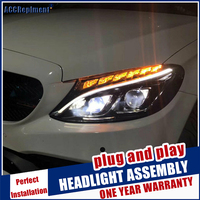led lens projectors Car Styling for C class W205 headlights 2015 2019 C180 C200 OEM halogen lamp upgrade to all led headlamp